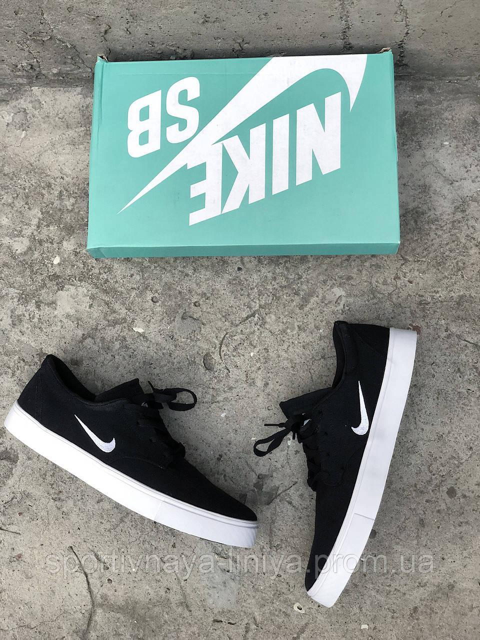 Кроссовки мужские черные Nike SB Clutch sketeboarding Black White (реплика)