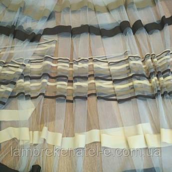 Тюль с полоской цвета коричневый и бежевый