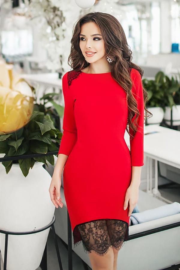 S (42-44) / Вечернее женское платье с кружевом Iona, красный