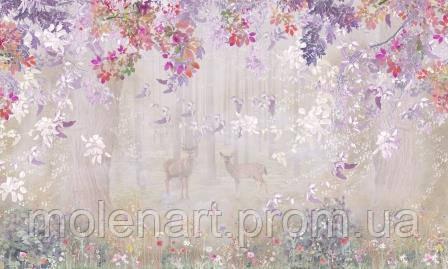 Рисунок Лес Олени