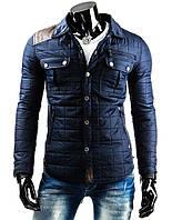 Мужская стеганная синяя куртка на весну ,мужская весенняя куртка синяя, мужская весенняя куртка