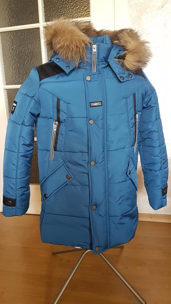 Зимняя подростковая куртка голубой
