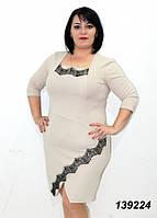 """Платье женское с кружевом """"Реснички"""", коктейльное батальное платье, большие размеры, разные цвета."""