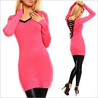 Розовая туника - платье с V-образным вырезом