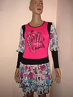 Платье малиновое с шифоновыми оборками