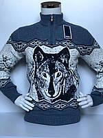 Свитер мужской теплый с волком  FIVE 5