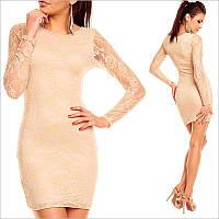 Бежевое платье с длинным рукавом