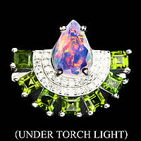 Серебряное кольцо с природным опалом и хромдиопсидом