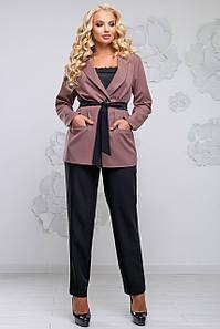Женский брючный костюм с жакетом и поясом больших размеров (2811 svt)