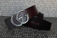 Ремень Gucci женский коричневый пряжка серебро 25мм