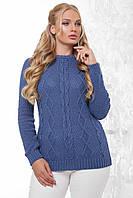 Жіночий стильний повсякденний вязаний светер великих розмірів джинс розмір  48-54 1e9cfdc770ed4