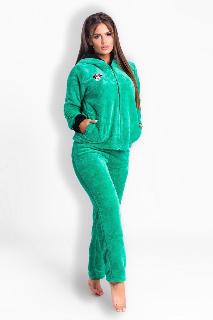 193ccfe9aa4f Теплый домашний костюм -пижама с забавными ушками и бантиком на капюшоне -  Интернет-магазин