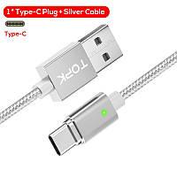 Магнитный кабель синхронизации Topk Magnetic Data Sync F-Line 2 m Sliver USB Type-C