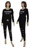 Костюм женский спортивный 18095 Moschino Осень Black, кофта и штаны, двухнитка