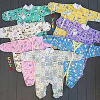 Человечек для новорожденного футер (хлопок 100%) 56 р, цвет на выбор