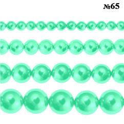 Набор Бусины Жемчуг Стекло 4мм, 6мм, 8мм, 10мм. Цвет: Светло-Бирюзовый тон 65, всех размеров по 1нити