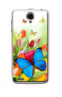 Чехол для Lenovo S650 (бабочка с тюльпанами)