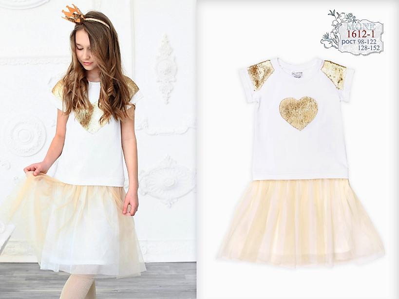 Платье с фатиновой юбкой р-р 134