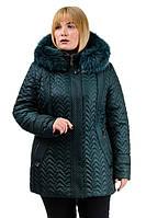 """Зимняя стеганая куртка с натуральным мехом """"Зигзаг"""", фото 1"""