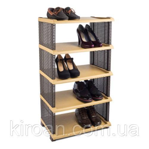 Этажерка - полка для обуви (обувница) Rattan пластик 5 полок, Tuffex цвет коричневый