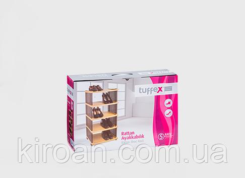 Этажерка - полка для обуви (обувница) Rattan пластик 5 полок, Tuffex цвет коричневый, фото 2