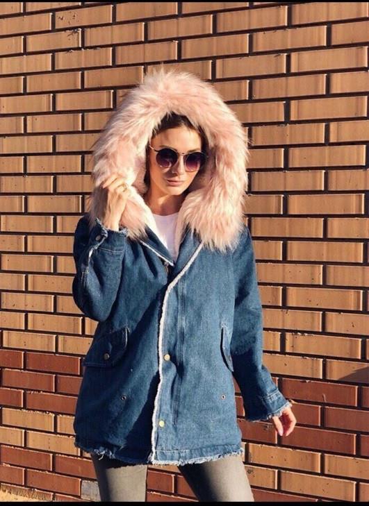 eb9459b5 ... Женская Теплая длинная джинсовая куртка с мехом внутри (размеры  42-46)04- ...