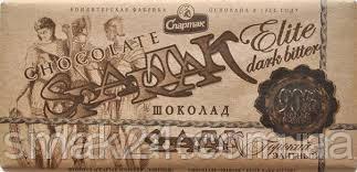 Черный шоколад Спартак горький Элитный 90 % ,крафт, 90 г