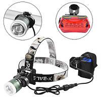 Велофара - налобный фонарь Police B02B-T6, zoom, STOP-5LED, 4х18650, 2хААА, ЗУ 220V, комплект