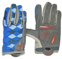 Велоперчатки с пальцами Ромб серо-синие М. Распродажа!