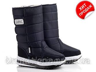 Підліткові чорні чоботи «CAROC» (р36 р39) 2 липучки.