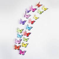 Объемные 3D бабочки наклейки декоративные, разноцветные