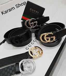 Ремни кожаные люксовые реплики  Gucci (унисекс)