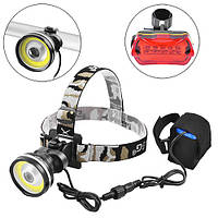 Велофара - налобный фонарь Police B031-COB+LM, + STOP-5LED, комплект