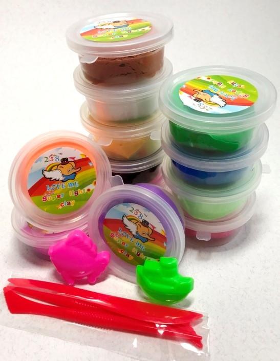 Набор Тесто для Лепки Детский Пластилин Super Light Clay Niboshi 5D 12 Цветов