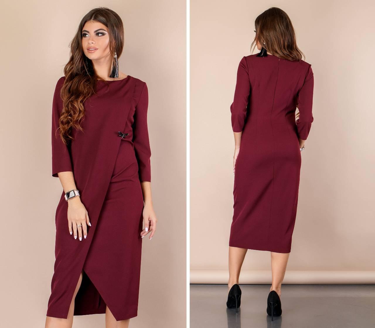 Длинное платье с рукавом ( арт. 131 ), ткань креп, цвет бордо