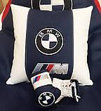 Автомобільна подушка кругла з логотипом bmv бмв 35см, фото 10