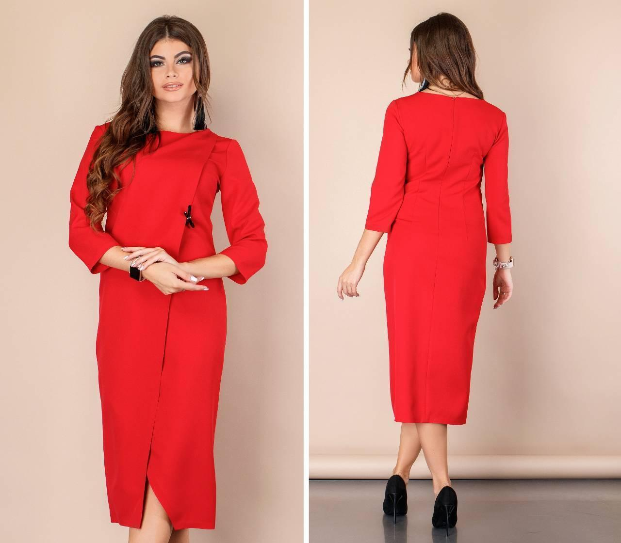 Платье на запах ( арт. 131 ), ткань креп, цвет красный
