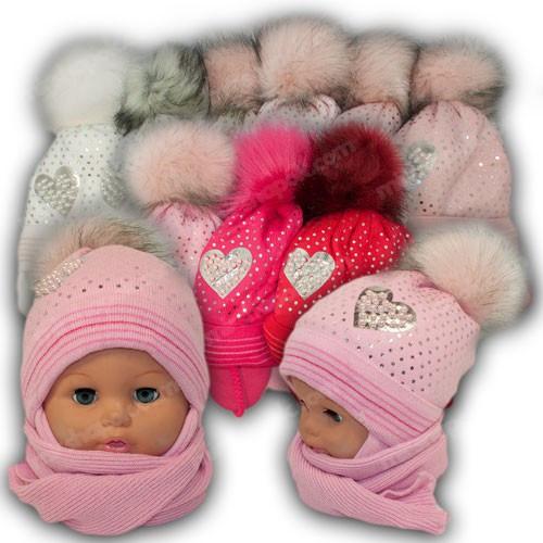 ОПТ Детский комплект - шапка и шарф для девочки, 42-44 (5шт/набор)