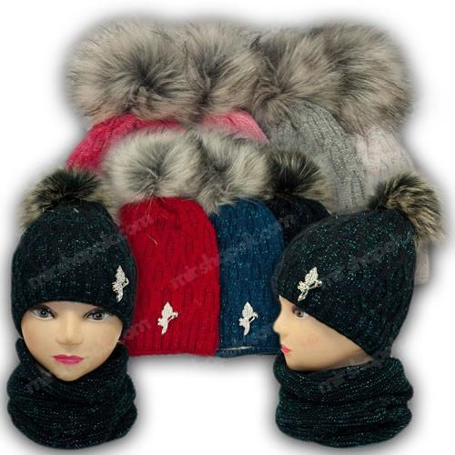 ОПТ Комплект - шапка и хомут с ниткой люрекс для девочки, р. 50-52 (5шт/набор)