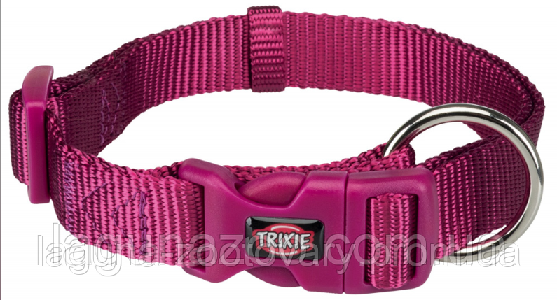 ТХ-202220 Ошейник Premium нейлон, S 25–40см/15мм, ярко-розовый для собак, фото 2