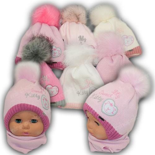 ОПТ Детский комплект - шапка и шарф для девочки, 40-42 (5шт/набор)