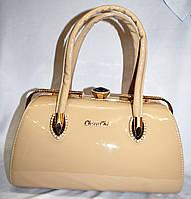 Женские элитные сумки Премиум класса лаковые саквояжи бежевая 31*17
