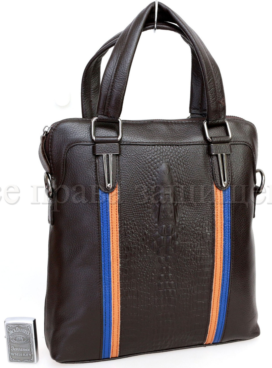 Мужская кожаная сумка через плечо коричневый  (Формат: А5) SK Leather Collection SK712-brown