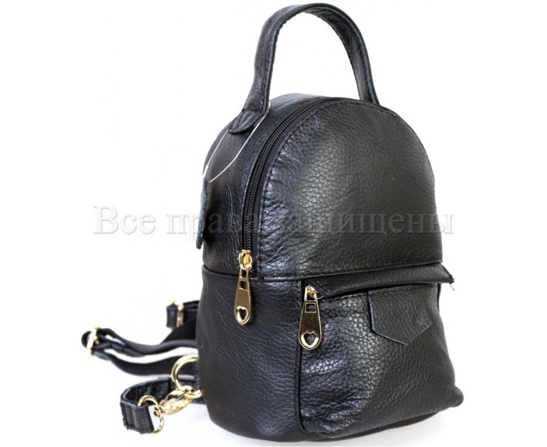 Женский кожаный рюкзак черный  (Формат: больше А5) SK Leather Collection SKMBP-01-Black