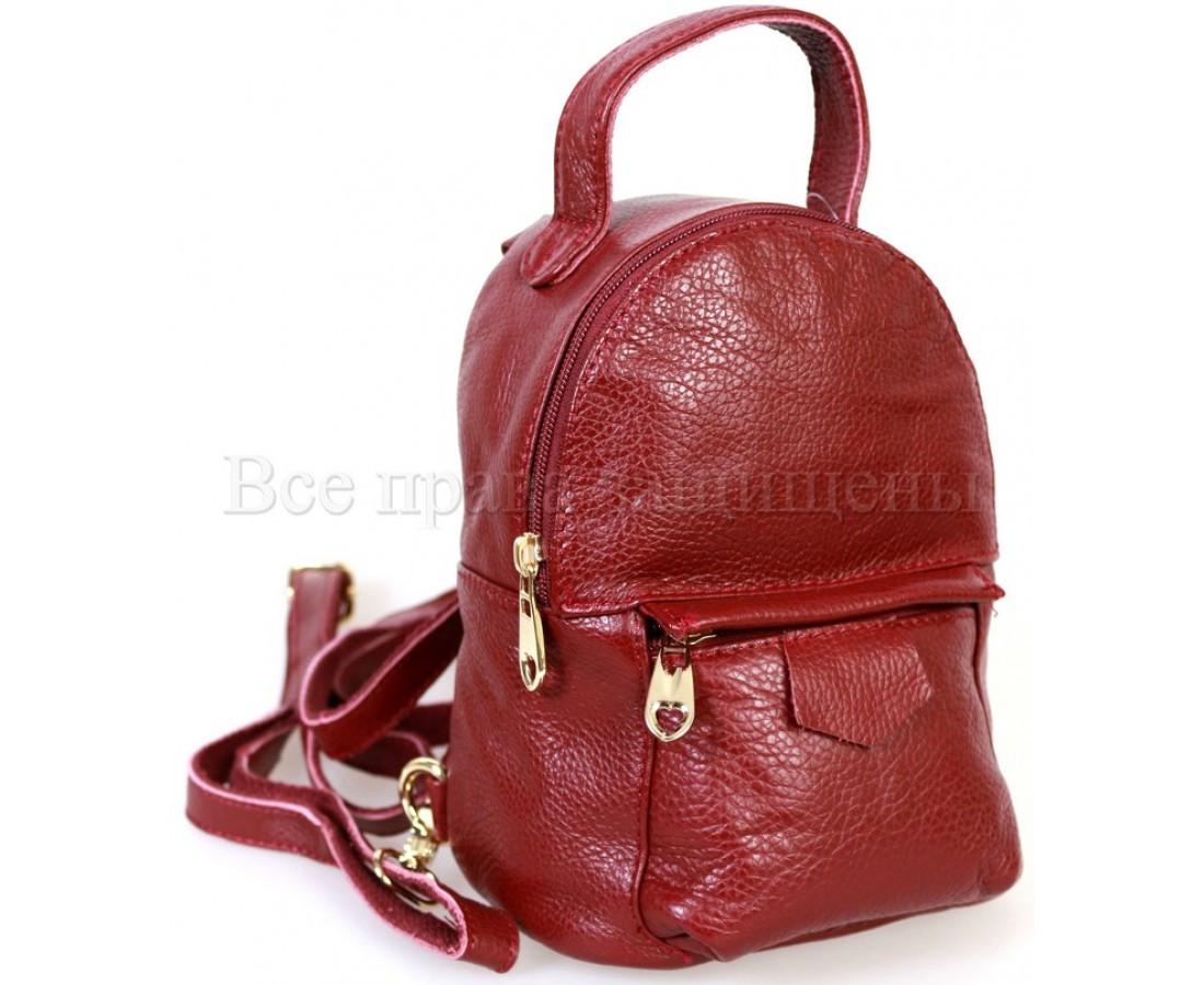 Женский кожаный рюкзак красный  (Формат: больше А5) SK Leather Collection SKMBP-01-Red