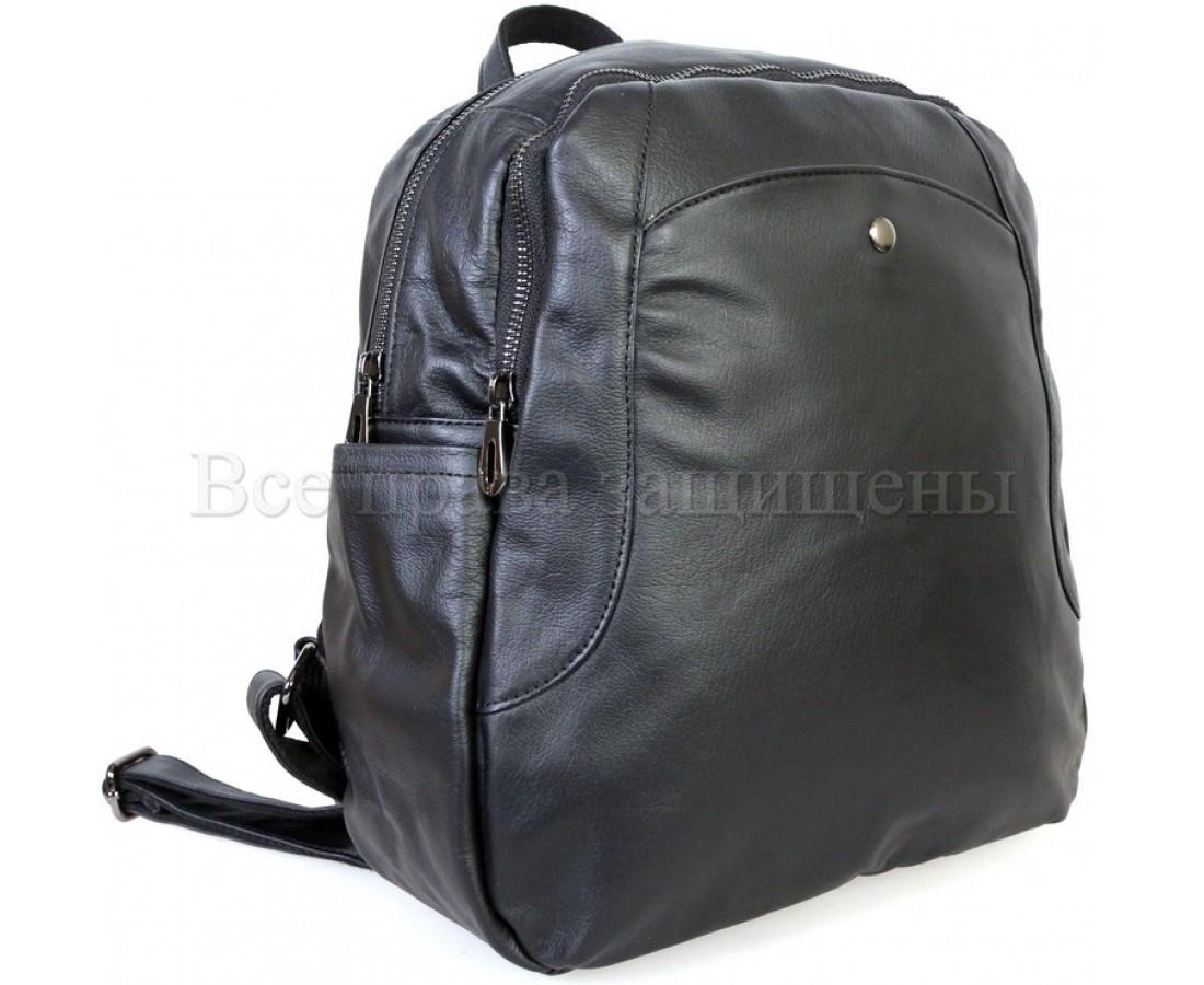 Женский кожаный рюкзак черный  (Формат: А4 и больше) SK Leather Collection SKMBP-02-Black