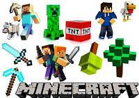"""Вафельная картинка для маффинов, топперов, пряников """"Minecraft"""" (лист А4)"""