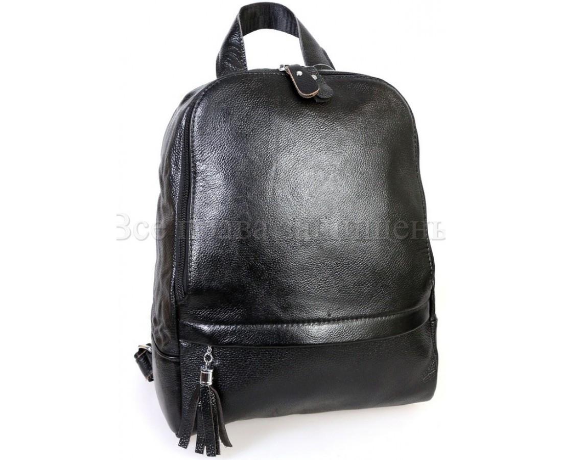 Женский кожаный рюкзак черный  (Формат: А4 и больше) SK Leather Collection SKMBP-03-Black