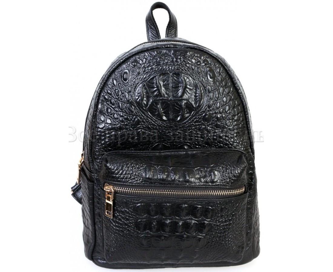 Женский кожаный рюкзак черный  (Формат: больше А5) SK Leather Collection SKMBP-06-Black