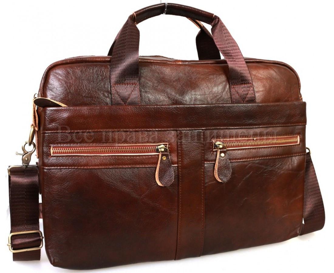 Мужская кожаная сумка коричневый  (Формат: А4 и больше) SK Leather Collection SKMB-9023-brown